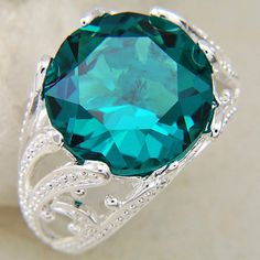 Fashion Jewelry Bulk Exotic Stylish Genuine Natural Stone Green Zircon Vintage Silver Rings GR0547 $8.31