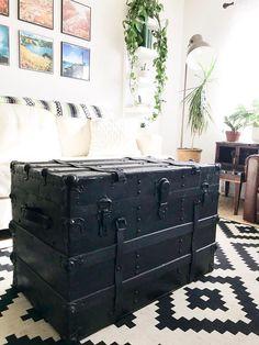 Vintage antique black steamer trunk coffee table blanket
