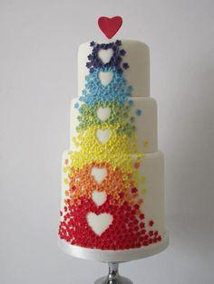 regenboog hartjes taart