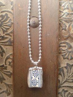 Blue and White China pendant and neckalce by AzureJoyeria on Etsy