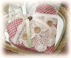 Sachet Heart Heart Sachet Red and Ecru Check by CharlotteStyle, $12.50