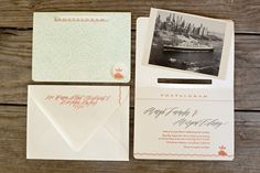 Orange Aqua Art Deco Letterpress Wedding Invitations Blackbird Letterpress Betsy Dunlap Calligraphy 550x366 Margie + Morgens Art Deco Inspir...