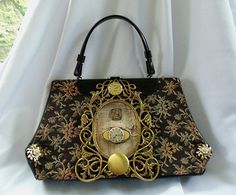 Steampunk inspired carpet bag
