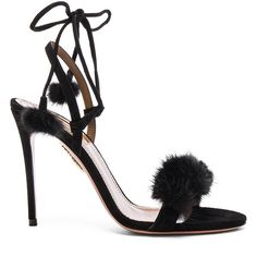 Aquazzura Suede Wild Russian Heels with Mink Fur ($915) ❤ liked on Polyvore featuring shoes, pumps, heels, sandals, high heel pumps, wrap around shoes, high heel court shoes, high heel shoes and suede shoes