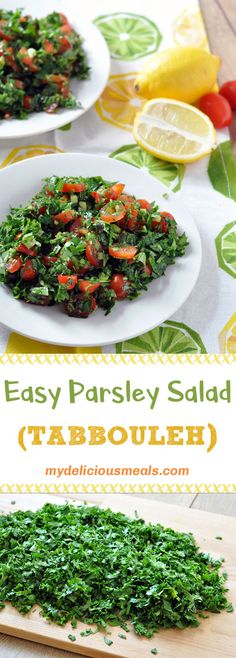 A light and refreshing salad with parsley, mint, tomatoes, cucumber and green onions. A good splash Tabbouleh Recipe, Bulgur Salad, Couscous, Best Salad Recipes, Healthy Dinner Recipes, Cooking Recipes, Middle Eastern Recipes, Summer Salads