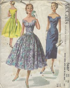 1956  Vintage Sewing Pattern B36 DRESS (R962)