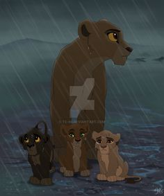 When the cubs were young, they got lost in a rain storm with their mother, Kiara. They were wandering out in the Pridelands all night, soaked to the bon. Lost in the Rain Kiara Lion King, The Lion King 1994, Lion King Fan Art, Lion King 2, Lion Art, Disney Lion King, Anime Lion, Anime Cat, Lion Drawing