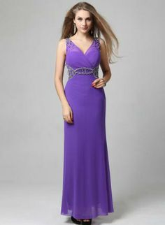 Purple Formal Dress - Bqueen Purple Deep-V Light Ornament
