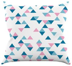 #Pillows #triangles geometric #blue #pink #white #projectm