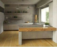 Concrete and wood in kitchen .... how beautiful!!