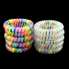 10 Pcs Big Telephone Wire Colorful White Striped Gum Hair Rope High Elastic Hair Bands Rubber Band Women Girl's Hair Accessories