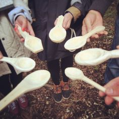Our student's spoons created at the second workshop. Super skills all round! You can make your own on one of our future workshops, check here for availability: http://www.miscellaneousadventures.co.uk/index.php?/workshops/woodland-woodcarving/