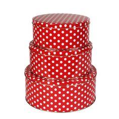 Red Polka Dots Tins
