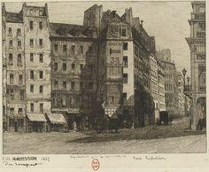 Vue du trottoir nord de la rue du Rempart en 1865, après la démolition du…