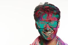 Portrait of a man wearing goggles covered with powder paint and smiling Powder Paint, India, Stock Photos, Portrait, How To Wear, Image, Delhi India, Powder Coat Paint, Headshot Photography