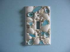 Seashell and Seaglass Encrusted Single Light Switch Plate Cover - Aqua and White on Etsy, $14.00