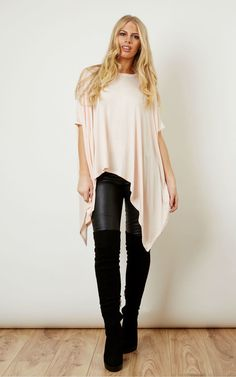 Oversized Jersey Asymmetric Top Pink - SilkFred