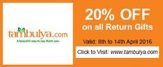 Get Cute Return Gifts from http://Tambulya.com  @ 20% OFF http://bit.ly/MatrimonyDayTambulya … Use code: MATRIMONYDAY