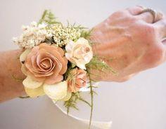 Blush Wrist Corsage Prom Corsage Boho от MoonflowerNatureArt
