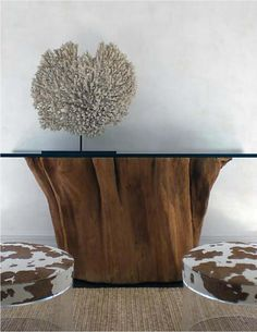 great idea if you can source a tree trunk base could also make a coffee table side table or garden table just need to clean and treat the base and