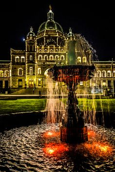 The Night Lights of the British Columbia Parliament Building - Victoria BC Canada