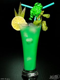 The Grass  Whiskey  Curacao blue  Orange juice  Lime juice  Ice     Mix all ingredients and pour into tumbler with ice.