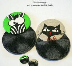 Taschenspiegelset  Katze o. Zebra - Wollfilzhülle  von ღKreawusel-Designღ auf DaWanda.com