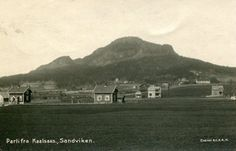 Akershus fylke Bærum kommune Sandvika SANDVIKEN. Parti fra Kaalsaas. Små hus i forgr. Brukt Ca. 1930 Produsent/foto B.C. & A.H.