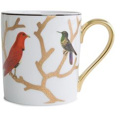 Bernardaud Can Shaped Mug (€116) ❤ liked on Polyvore featuring home, kitchen & dining, drinkware, porcelain mugs, colored trees, bird mugs, butterfly mug and coloured mugs