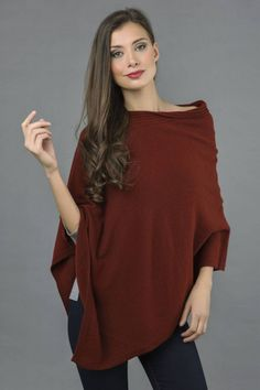Pure Cashmere Knitted Asymmetric Poncho Wrap in Bordeaux front 1 Cashmere Poncho, Cashmere Wrap, Knitted Poncho, Poncho Outfit, Asymmetrical Dress, One Size Fits All, Jeans Leggings, Jeggings, Knitwear