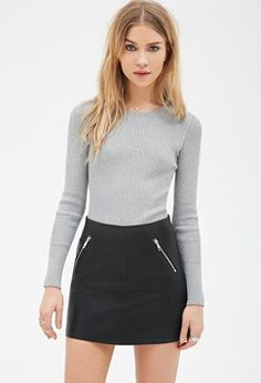 Forever21 Fitted Ribbed-Knit Sweater