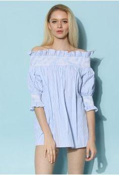 7b5eef4ac85c83 Honey Stripes Off-shoulder Tunic in Blue - Retro