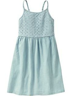 Girls Chambray Eyelet Dresses | Old Navy