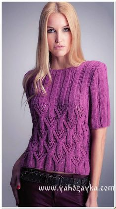 Пуловер с короткими рукавами реглан. Пуловер спицами рельефным узором схемы и выкройка | Я Хозяйка