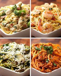 Spaghetti Four Ways - chicken broccoli Alfredo, shrimp scampi, mushroom spinach pesto, tomato basil sausage. Would all be so good with spaghetti squash too!