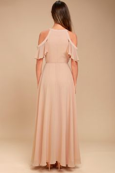 Glide across the dance floor in the Lulus Easy Listening Blush Cold-Shoulder Wrap Maxi Dress! Wrap maxi dress with cold-shoulders and off-the-shoulder sleeves. Hoco Dresses, Ball Dresses, Bridesmaid Dresses, Formal Dresses, Maxi Dress Wedding, Maxi Wrap Dress, Cocktail Dresses With Sleeves, Secret Closet, Bodice Top
