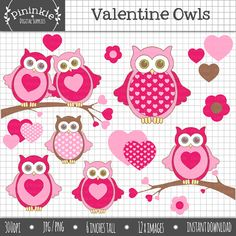 Valentine Owls Clipart,Valentine's Day Clipart,Heart clip art,Commercial use,Instant Download,Digital Clip Art,clipart owls,Instant Download