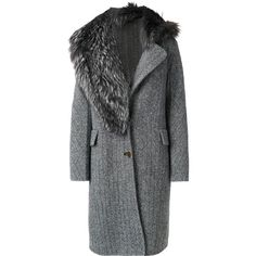 Ermanno Scervino fur detail coat (84 010 UAH) ❤ liked on Polyvore featuring outerwear, coats, grey, grey coat, fox coat, fur trim coats, fox fur trim coat and ermanno scervino
