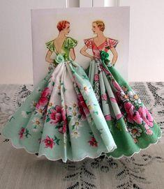 Pastel Green Floral Vintage Design Hankie Card Garden Girl
