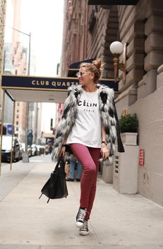 #StreetStyle way to go Silvia. keep it mega low key and throw a fabulous fur on. well played girl. NYC. #SilviaBartabac #StyleLovely