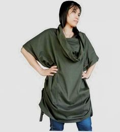 Ladies Generous Over Size, Tunic, Uniquely Styled Cowl Neck, In Green Cotton Jersey.