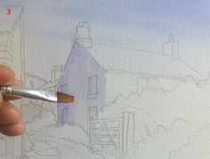 How to paint a cottage scene in watercolor - a free, step-by-step lesson, by Joanne Boon-Thomas, at ArtTutor.com #art #watercolorarts