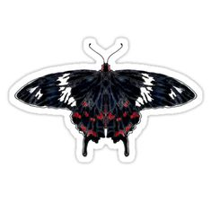 """Crimson Rose Butterfly"" Stickers by Scribblestudio"