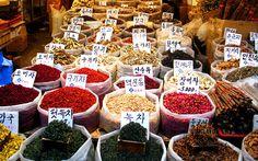 Photo of shop at an open market, South Korea