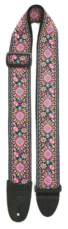 - Retro-styled jacquard weave pattern guitar strap - Strong, reinforced poly-web…