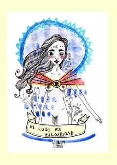"""Vulgar Illustration art by Guadalupe Ferrante, via Behance """"El lujo es vulgaridad, dijo, y me conquistó"""" Un poco de amor francés -Patricio Rey - Los redondos - El indio. Frases Rock"""