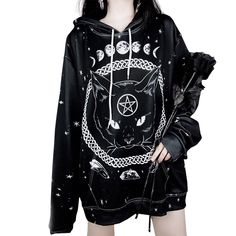 Oversized Harajuku Unisex Hoodies Gothic Moon Phase Star Pattern Witchcraft Ca ., Oversized Harajuku Unisex Hoodies Gothic Moon Phase Star Pattern Witchcraft Cat Printed Women Men Loose Sweatshirts Plus Size - Outfits - Delicious colors, for. Hipster Outfits, Gothic Outfits, Classy Outfits, Work Outfits, Hipster Skirt, Summer Outfits, Casual Outfits, Tomboy Outfits, Casual Skirts