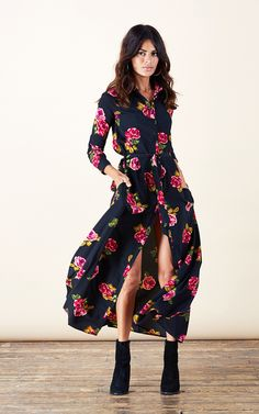 Vantage Point Maxi Shirt Dress {multiple colorways}