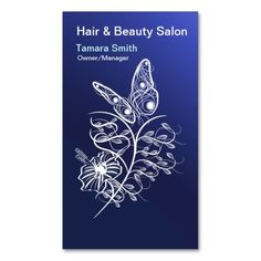 Blue And White Hair And Beauty Salon Business Card Template.