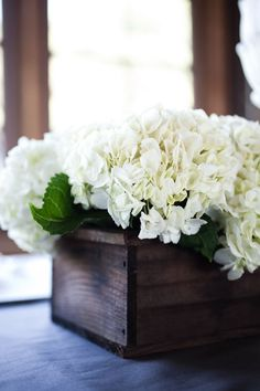 Wooden boxes filled with hydrangea. We could do a mixed arrangement or just hydrangea Planter Box Centerpiece, Rustic Centerpieces, Wedding Centerpieces, Wedding Decorations, Hydrangea Centerpieces, Aisle Decorations, Planter Ideas, Centrepieces, Centerpiece Ideas
